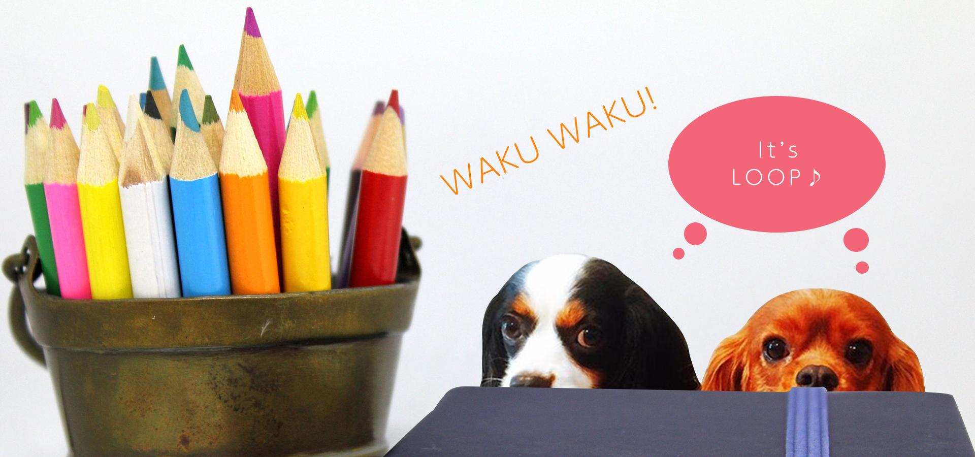 坂戸にある小さな雑貨屋さんLOOP(ループ)イメージ画像。看板キャバリア犬のルークとコッペがワクワクしながらこっちを見ている画像。